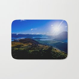 lake wanaka covered in blue colors new zealand beauties and mountains at sunrise Bath Mat