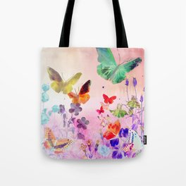 Blush Butterflies & Flowers Tote Bag