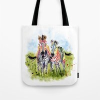 zebra Tote Bags featuring Zebra by Anna Shell
