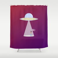 ufo Shower Curtains featuring UFO by adovemore