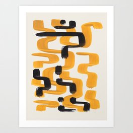 Mid Century Modern Abstract Painting Antique Yellow Black Funky Wiggle Pattern Art Print