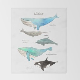 Whale collection Throw Blanket