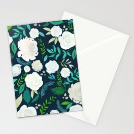 White Roses Pattern Watercolors Illustration Stationery Cards
