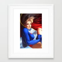 supergirl Framed Art Prints featuring Supergirl by Caleb Thomas