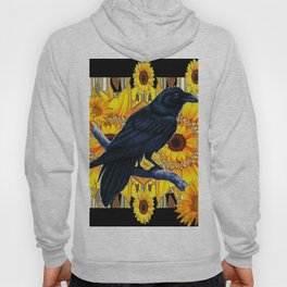 GRAPHIC BLACK CROW & YELLOW SUNFLOWERS ABSTRACT Hoody