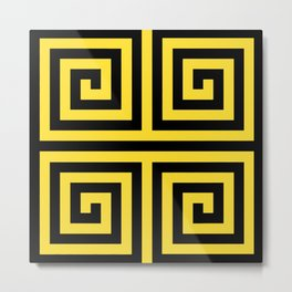 GRAPHIC GRID 4 SWIRL ABSTRACT DESIGN (BLACK AND YELLOW) SERIES 3 OF 6 Metal Print