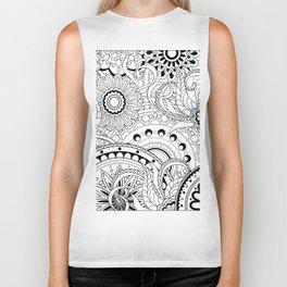 zen pattern in black&white Biker Tank