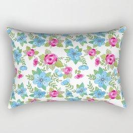 Blue Lilly Watercolor Rectangular Pillow