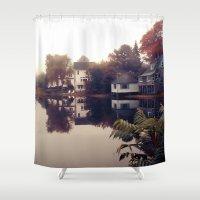 maine Shower Curtains featuring Maine Fog by KarenHarveyCox