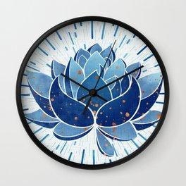 Indigo Lotus Blossom Wall Clock