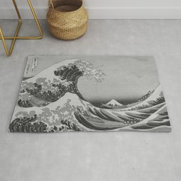 Black & White Japanese Great Wave off Kanagawa by Hokusai Rug