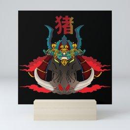 Wild Boar Samurai Shogun Mini Art Print