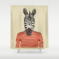 charlie Shower Curtains featuring charlie zebra by bri.buckley
