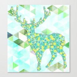Romantic Flower Deer Canvas Print