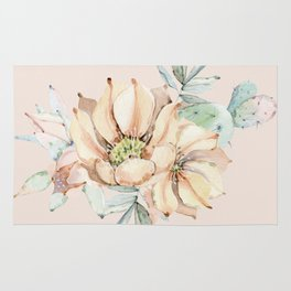 Country Cactus Coral Roses Rug