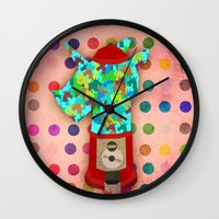 gumball Wall Clocks featuring Gumball Unicorns by That's So Unicorny