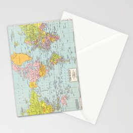 World Map Stationery Cards