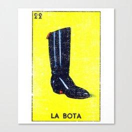 La Bota Mexican Loteria Bingo Card Canvas Print