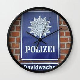 Polizei Davidwache St. Pauli Police Hamburg Reeperbahn Wall Clock
