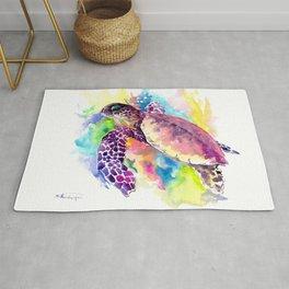 Sea Turtle in Coral Reef, tropical colors sea world purple yellow blue turtle art, turtle illustrati Rug