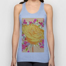 CORAL COLOR ART &  ORANGE ROSE PINK  FLOWERS  DESIGN Unisex Tank Top