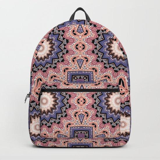 Pink blue ethnic pattern . Backpack