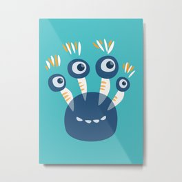 Cute Blue Four Eyed Monster Metal Print