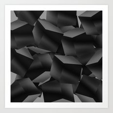 Black Fade Cubes Art Print
