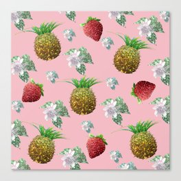Pineapples, strawberries and flowers Canvas Print