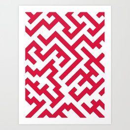 White and Crimson Red Diagonal Labyrinth Art Print