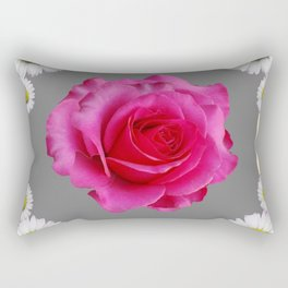 Red Art Shasta Daisy Fuchsia Rose Design Rectangular Pillow