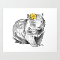 Wombat with Flower Art Print
