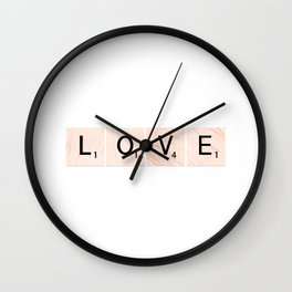 LOVE Scrabble Tiles Horizontal Wall Clock