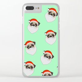 Santa Pugs Green Clear iPhone Case