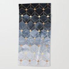 Blue Hexagons And Diamonds Beach Towel
