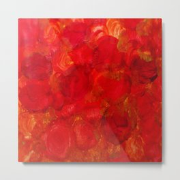 Intensely Bright Fiery Red and Orange Abstract Roses Metal Print