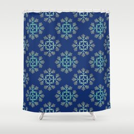 Grey, Teal and Navy Repeating Tile Digital Design Shower Curtain