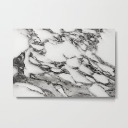 White Black Marble Metal Print