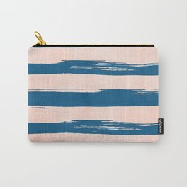 Trendy Stripes - Sweet Peach Coral on Saltwater Taffy Teal Carry-All Pouch