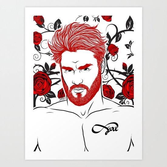 Red & Roses Art Print