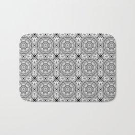 Black and white star tiles Bath Mat