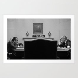 Johnson and Nixon at the White House Art Print