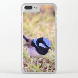 Blue Fairy Wren Clear iPhone Case