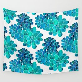Turquoise succulents Wall Tapestry
