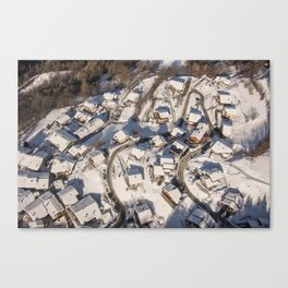 mountain village from the sky Canvas Print