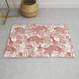 chinoiserie toile red Rug