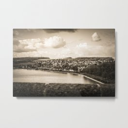 Cityscape Möhne From Reservoir Barrage Wall sepia Metal Print
