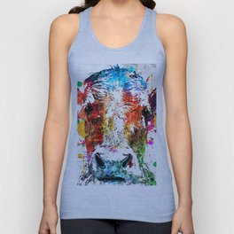 Cow Watercolor Grunge Unisex Tank Top