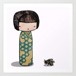 Bee Kokeshi Art Print