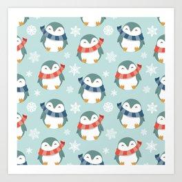 Winter penguins pattern Art Print